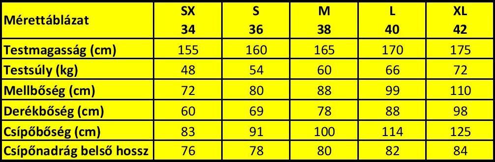 Mérettáblázat - Stamina Sportruházat